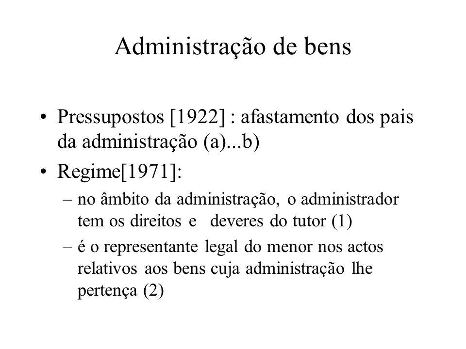 Administração de bens Pressupostos [1922] : afastamento dos pais da administração (a)...b) Regime[1971]: